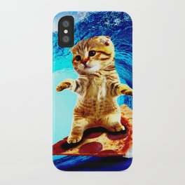 Pizza Surfing Cat iPhone Case