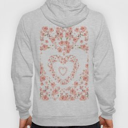 Modern coral pink watercolor valentine's hearts floral Hoody