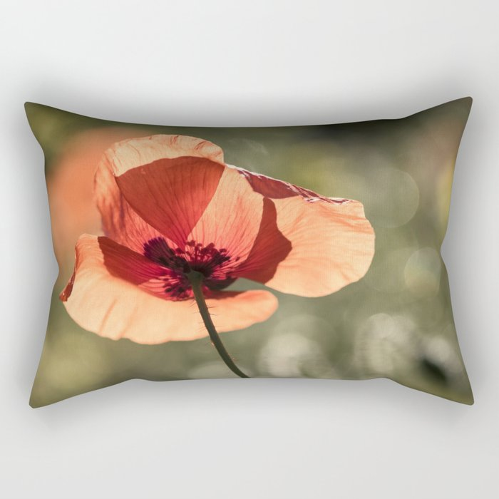 Enlightened Poppies at early backlight Rectangular Pillow