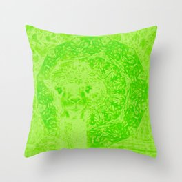 Ghostly alpaca and mandala in Green Flash Throw Pillow