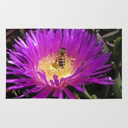 Purple flower with Honey Bee Rug