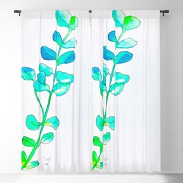 Watercolor Leaves Blackout Curtain