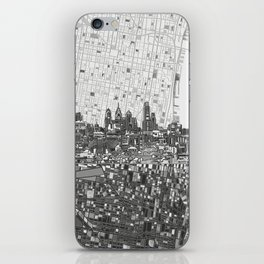 philadelphia city skyline black and white iPhone Skin