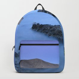 Half Moon beach. Blue hour at sunset Backpack