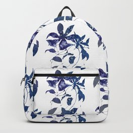 Watercolor Indigo Blue Clematis Flower Backpack