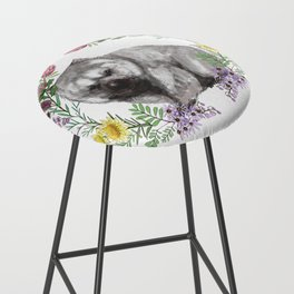 Wombat in Floral Wreath Bar Stool