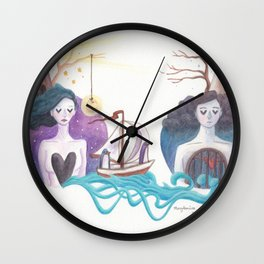 Girl With Dreamy Lighthouse Sending Ocean to Boy with Caged Heart Wall Clock