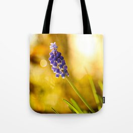Beautiful Spring Muscari Bokeh background  #decor #society6 #homedecor Tote Bag