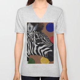 Zebra and Bubbles Unisex V-Neck