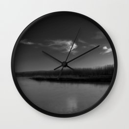 Winter Lake in Black and White Wall Clock