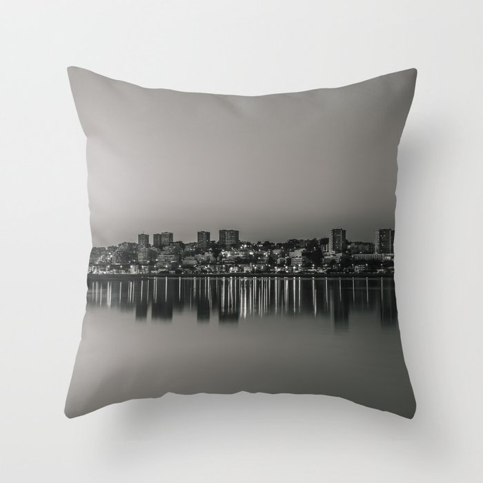 Porto in Black and White Throw Pillow