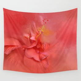 Salmon Hibiscus 2 - Floral Wall Tapestry
