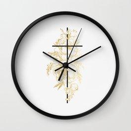Floral Cross Wall Clock