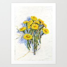 Yellow spring flowers-coltsfoot (watercolor on textured background) Art Print