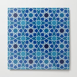 Blue Moroccan-Inspired Tile Metal Print