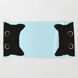 Black cat I Beach Towel