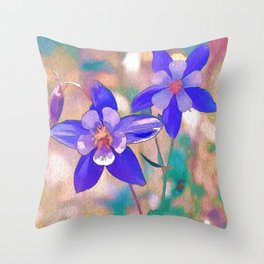 Colorado Columbine Flower Throw Pillow