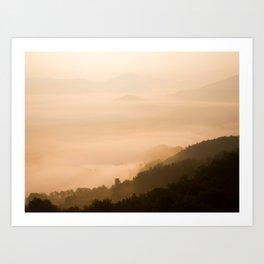 Modern Minimalist landscape Sepia Sunset Parallax Mountain Silhouette Art Print