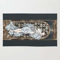 mucha Area & Throw Rugs featuring A Scandal in Belgravia - Mucha Style by Alessia Pelonzi
