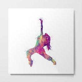 Hip-Hop Girl Art Rap Music Gift Colorful Purple Watercolor Art Dance Art Hip-Hop Dancer Metal Print