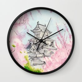 Himeji Castle , Art Watercolor Painting print by Suisai Genki , cherry blossom , Japanese Castle Wall Clock