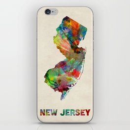 New Jersey Watercolor Map iPhone Skin