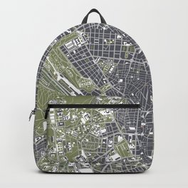 Madrid city map engraving Backpack