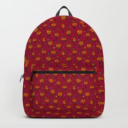 Pattern with dancing pumpkins (on blood red background) Backpack