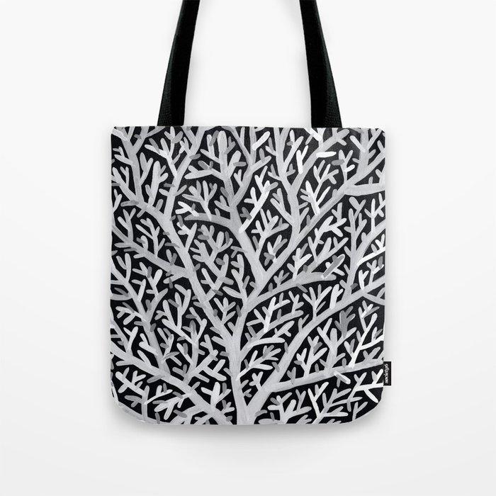 Fan Coral – White Ink on Black Tote Bag