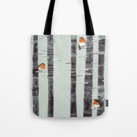 winter Tote Bags featuring Robin Trees by Sandra Dieckmann