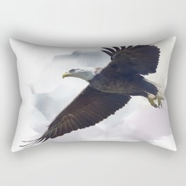american bald eagle in flight ,watercolor painting Rectangular Pillow