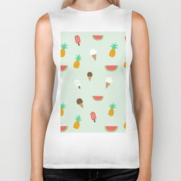 Summer Pattern cute ice creams, watermelon & pineapples Biker Tank
