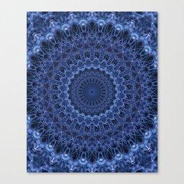 Dark and light blue tones mandala Canvas Print