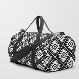 Aztec Symbol Pattern White on Black Duffle Bag