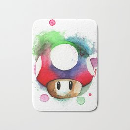 1UP Mushroom MArio Game Watercolor art Print Bath Mat