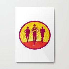 Marathon Runner Circle Woodcut Metal Print