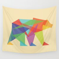 glitch Wall Tapestries featuring Fractal Geometric bear by Picomodi