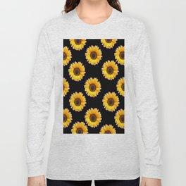 Black Color Sunflowers Pattern  Art Long Sleeve T-shirt