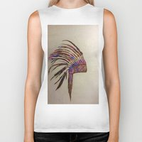 native american Biker Tanks featuring Native  by Emily Bingham