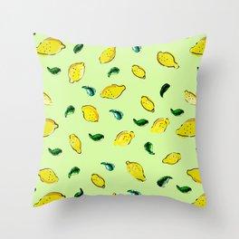 Watercolor Lemons Green #homedecor #spring #watercolor Throw Pillow