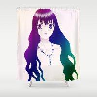 manga Shower Curtains featuring Rainbow Manga Girl by Nikki Xiao