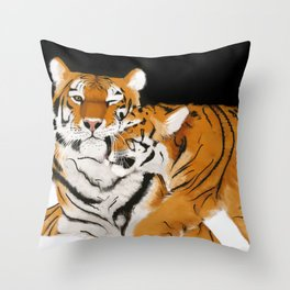 Tiger cub and mom (cheek-bump) Throw Pillow