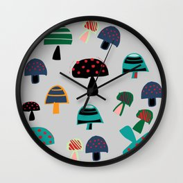 Cute Mushroom gray Wall Clock