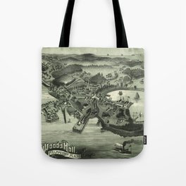 Vintage Pictorial Map of Woods Hole Falmouth MA (1887) Tote Bag