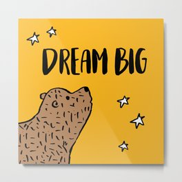 Dream big bear – Yellow Metal Print