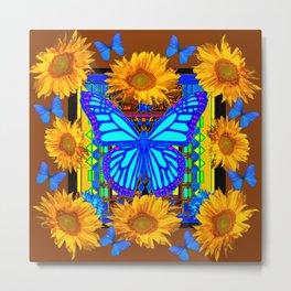 Coffee Brown Sunflowers Blue Butterflies Metal Print