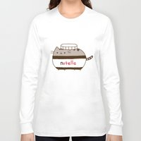 nutella Long Sleeve T-shirts featuring Nutella Cat by Wis Marvin