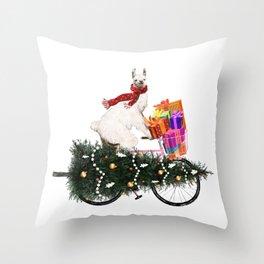 Llama Bringing Home Christmas Tree Throw Pillow