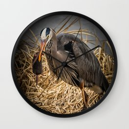 Heron and the mole Wall Clock