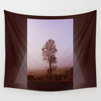 fog Wall Tapestries featuring Standing alone in the fog by Donuts